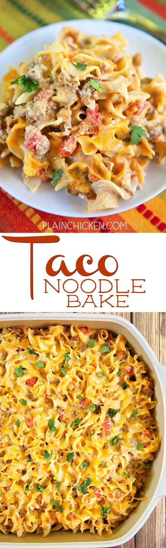 Taco Noodle Bake - SO good!!! Egg noodles, taco meat, cheese, diced ...