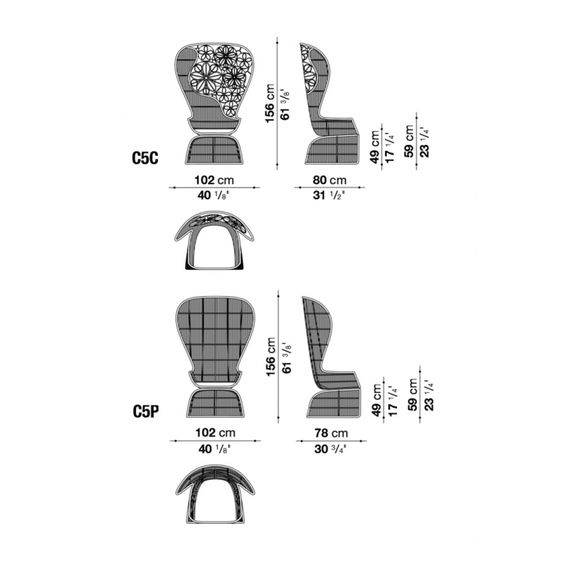 B&B Italia Crinoline Outdoor Sessel mit Polyethylenfasergeflecht 102 cm
