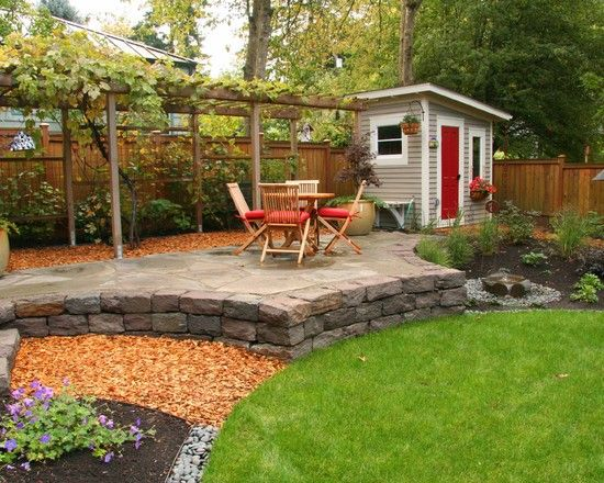 small shed arbor and raised patio all good ideas