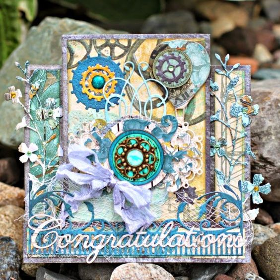 Congratulations card by Rhonda Van Ginkel - Scrapbook.com - Use BoBunny's Somewhere in Time collection to create a beautiful congratulations card.