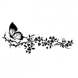 Vlinder met tak en bloemen