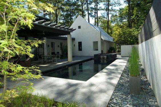 Schwarz Garten schwimmbecken haus idee
