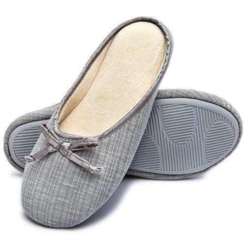 Women's Closed Toe Knitted Stripe Memory Foam House Slippers