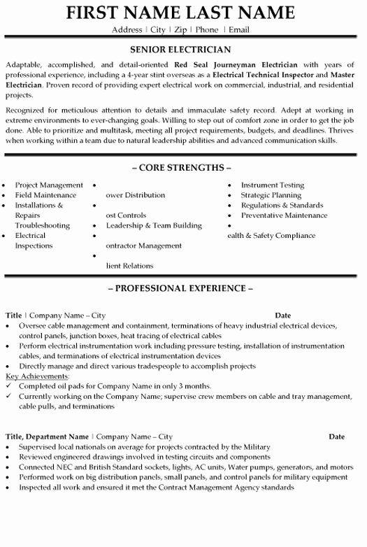 Entry Level Electrician Resume Lovely Senior Electrician Resume Sample Template In 2021 Job Resume Examples Job Resume Samples Resume Examples