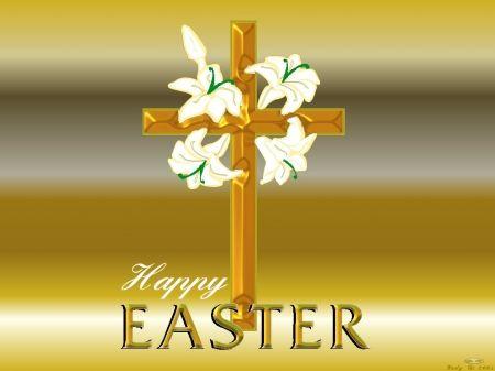 Easter golden Cross -