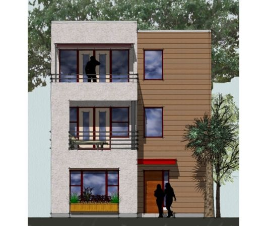 Green townhouse plan 3 level single family unit duplex for Contemporary townhouse plans