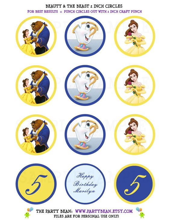 Belle Cupcake Toppers Princess Belle Beauty And The Beast