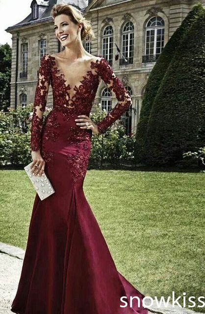 Zuhair Murad vestido de noche 2015 borgoña lf2739 madre vestido de la novia con cuentas cuello en V profundo sirena vestidos de noche con mangas largas