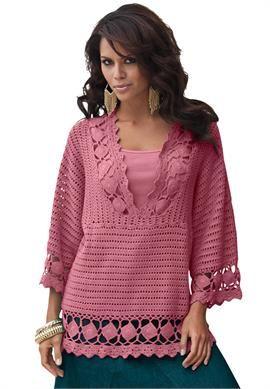 Plus Size Crochet V-neck Tunic