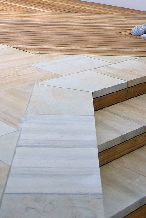Contemporary paving stones sandstone red with cedar for Gardens with decking and paving