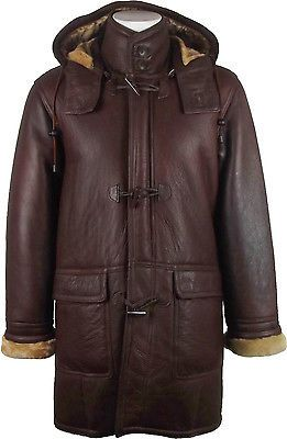 UNICORN Mens Hooded Sheepskin Duffle Coat Brown/Ginger Fur Leather