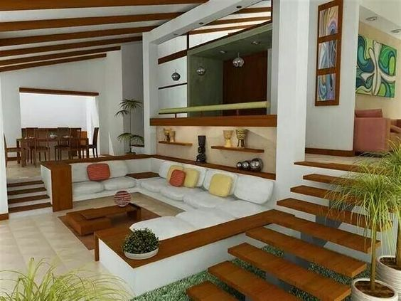 Espacios a desniveles casas pinterest for Decoracion de interiores living