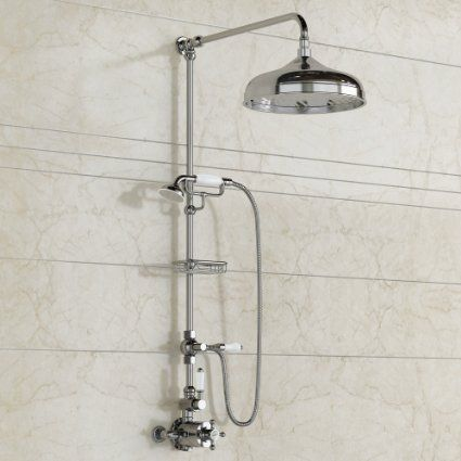 Traditional Exposed Thermostatic Chrome Bar Shower with Handheld Shower Set SS6820