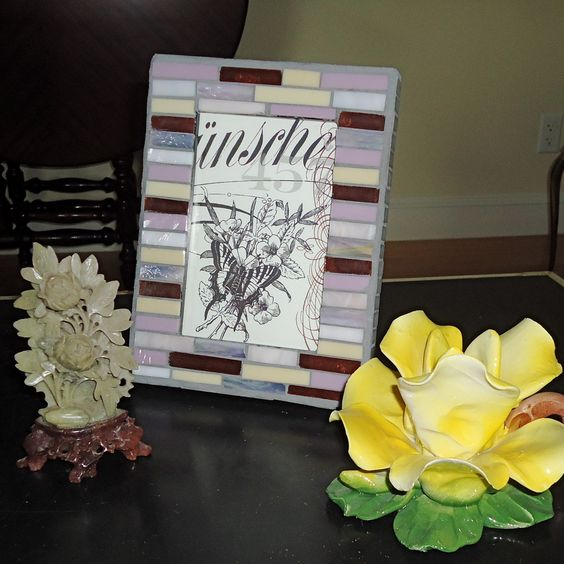 "Mosaic Frame, Picture Frame, White Frame by Live In Mosaics. Holds 4"" x 6 "" photo."