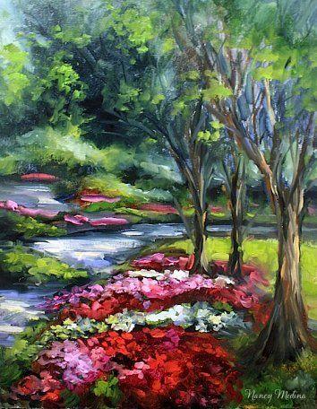 Crepe Myrtle Lane of the Dallas Arboretum by Nancy Medina Oil ~ 14 x 11