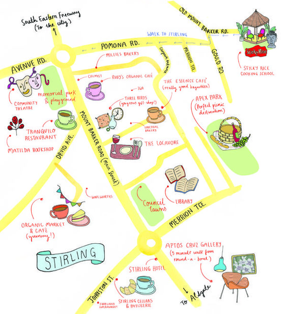 Pip Kruger - An illustrated map of Stirling for Sticky Rice Cooking School, in the Adelaide Hills.