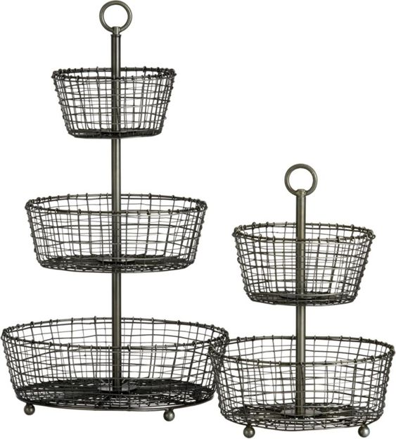 Tiered Baskets | Crate and Barrel- for on top of the desk as a smaller catch all