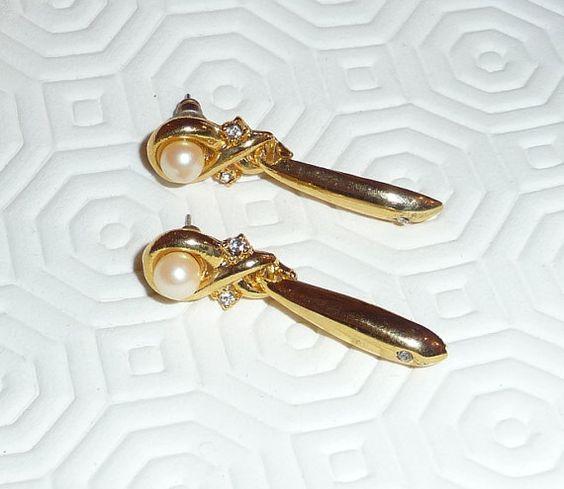 Vintage brass earrings by mmgem on Etsy, $18.00