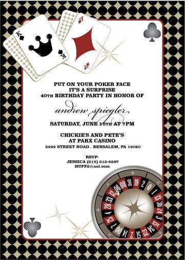 Casino birthday party invite wording