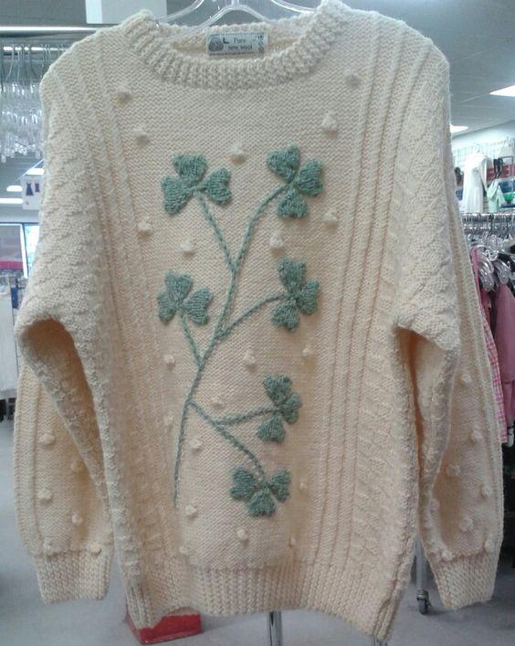 Vintage wool handknit shamrock sweater.