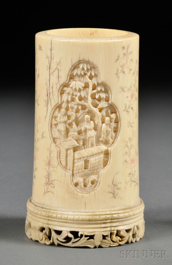 Ivory Brush Pot, China, 19th century, two carved cartouches depicting figures in an outdoor pavilion, engraved calligraphy, butterflies, and flowers on body, dia. approx. 2, ht. 4 in.