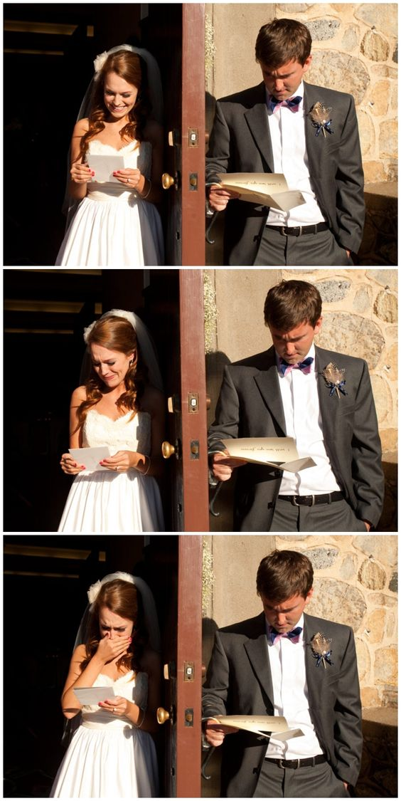 Exchanging love letters the morning of your wedding, before walking down the isle