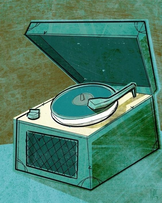 Old School Record Player in Aqua Print 8 in x 10 in.  By johnwgolden.etsy.com
