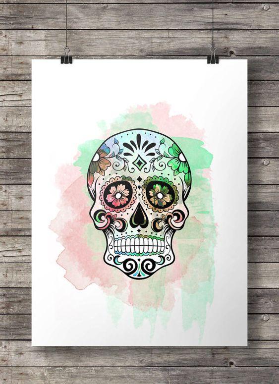 Crâne de sucre aquarelle - Dia di los Muertos aquarelle impression numérique de crâne mexicain - sticker imprimable - téléchargement immédiat