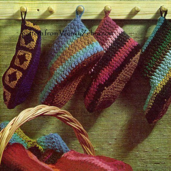 Crochet Slippers Vintage Pattern PDF 258 from by wonkyzebra