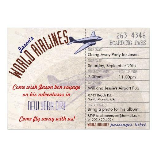Airline Ticket Bon Voyage Party Invitation Kids Pinterest Bon - Bon voyage party invitation template