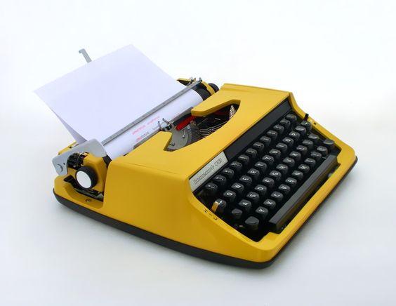 SUMMER SALE - Vintage yellow manual  typewriter - Beaucort 411 from Europe