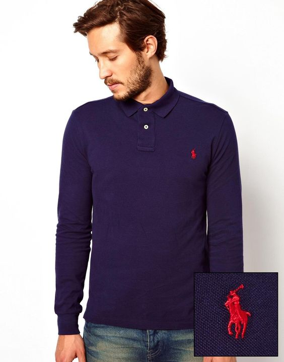 """Polo shirt by Polo Ralph Lauren Durable cotton mesh pique Ribbed collar Embroidered polo player Uneven vented hem Custom fit - cut closely to the body for a tailored fit Machine wash 100% Cotton Our model wears a size Medium and is 185.5cm/6'1"""" tall"""