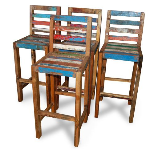 tall bar chairs made from reclaimed boat timber nautical