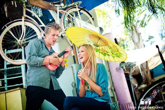 example of relaxed couple on engagement shoot in a flea market