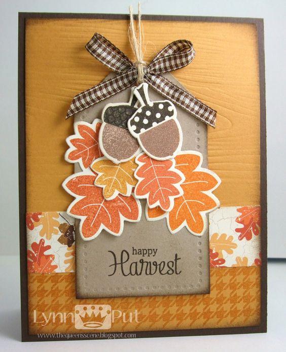 Card by Lynn Put  (092911)  [Papertrey Ink  (dies) Autumn Acorns, Stitched Tag; (e/f) Woodgrain Impressions Plate; (stamps) Autumn Acorn, Autumn Pattern Pieces]