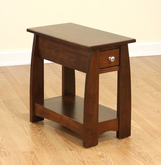 Amish Furniture In Illinois #16: Sonoma Solid Cherry Wood Narrow End Table | Amish Furniture | Solid Wood Mission Shaker Furniture