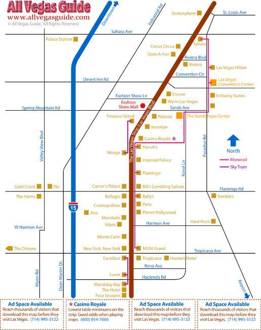 Las Vegas Strip Distance Map Las Vegas Blvd South Las Vegas - Map of las vegas nv