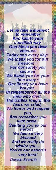 Veterans Day Bookmarks Printable