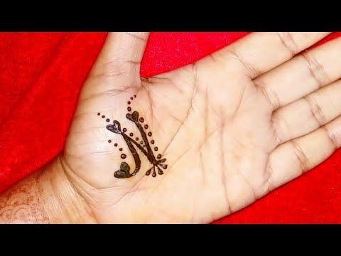 N Letter Henna Tattoo Design With Heart Shape Alphabet N