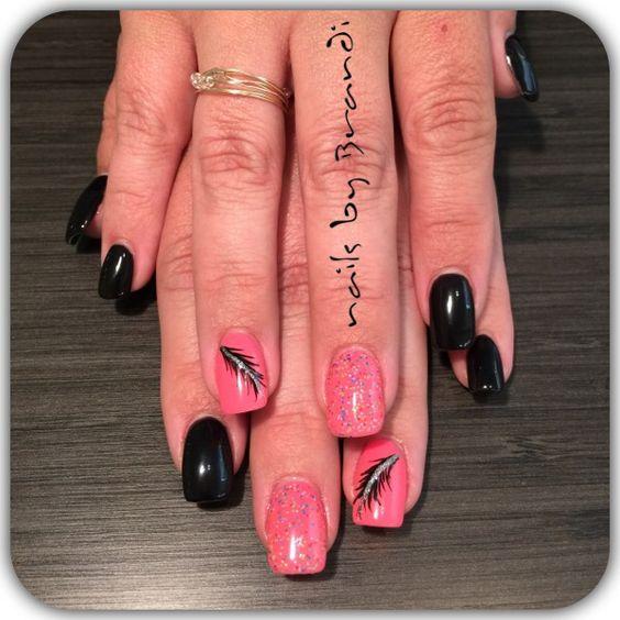 Acrylic and shellac with nail art by Brandi