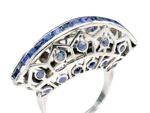 Custom Art Deco Sapphire Ring - The Three Graces