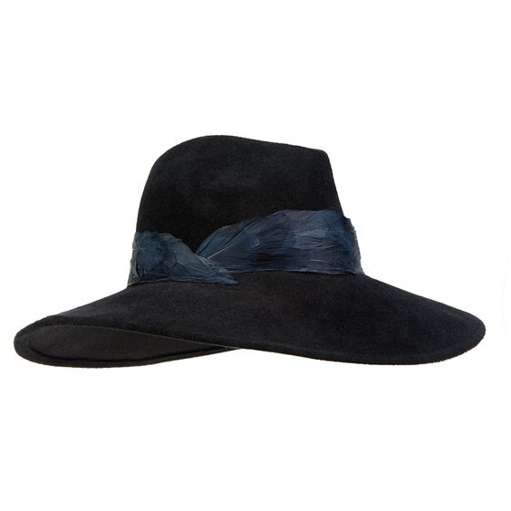 EMMANUELLE Black velour felt wide-brim fedora with midnight hand-feathered band | Eugenia Kim
