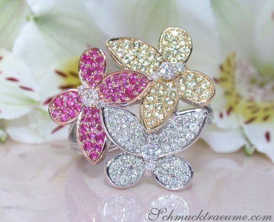 Diamanten Schmetterling Ring mit Rubinen & Saphiren