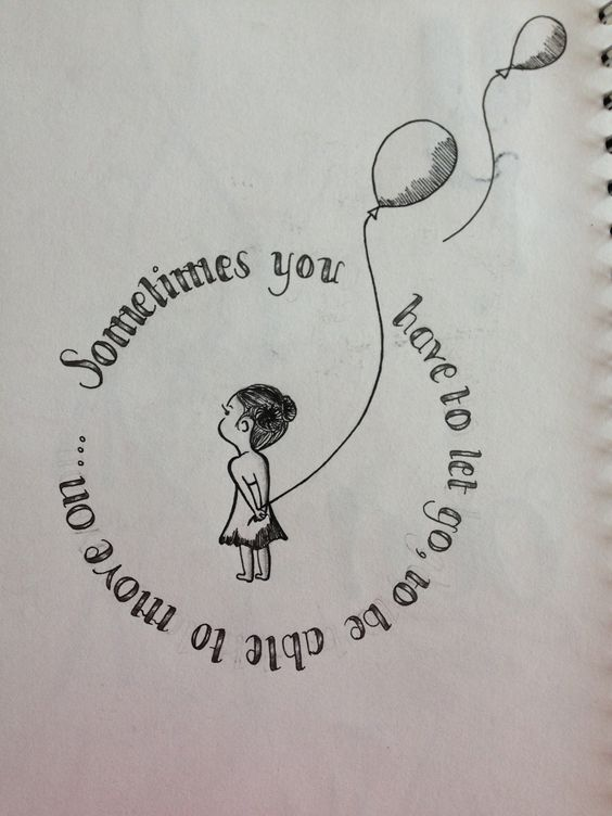 Sometimes you have to let to go be able to move on... Inspiration, illustration, tattoo design, typography, type, hand rendered, balloon, girl, by Yasmin Stopford.