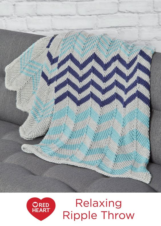 Knitting Essentials Yarn Separator : Relaxing ripple throw free knitting pattern in red heart