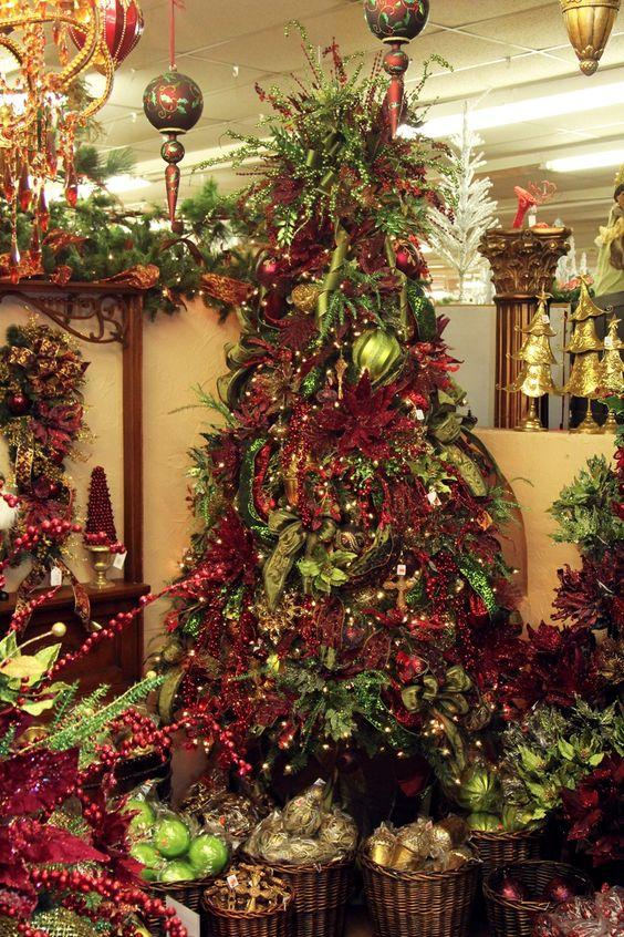 Maroon Green And Gold Tree Decorators Warehouse