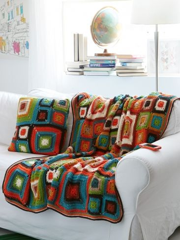 Bright Squares Blanket and Pillow: free #crochet pattern