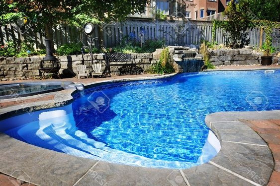 Best Residential Inground Swimming Pool In Backyard With Waterfall