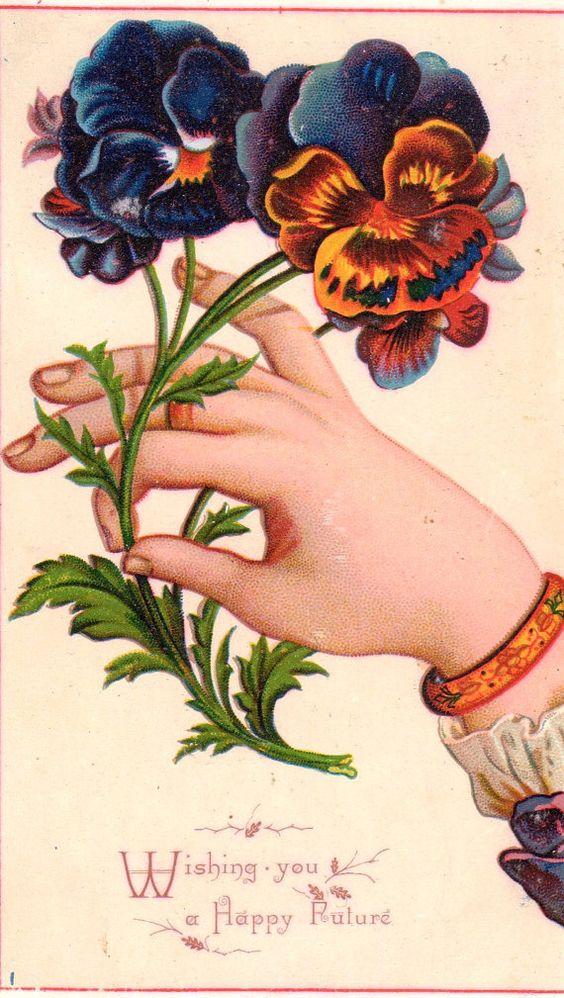 Victorian Card Hand Pansies flowers Wishing you a happy future original ephemera: