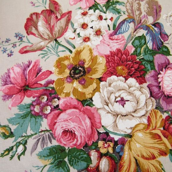Vintage Sanderson Floral Fabric My Grandmother S Lounge